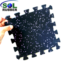 SOL RUBBER CrossFit Gym Rubber roll Interlocking Flooring Tiles mat fine SBR granules mixed with EPDM particles bodies