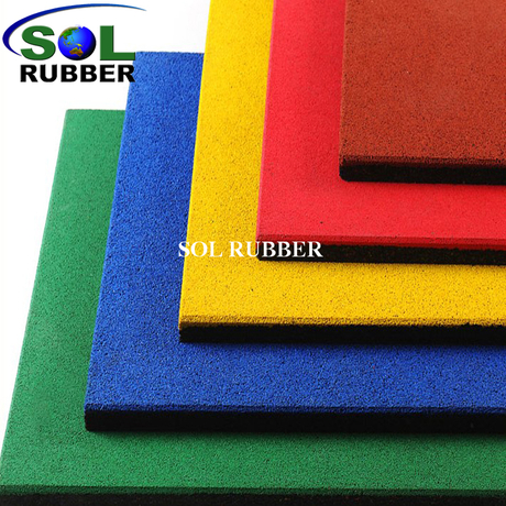 SOL RUBBER used children outdoor safety crossfit playground rubber floor tiles mat EPDM granules surface, bigger SBR granules bottom