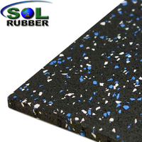 Black Rubber with Color EPDM Flecks Gym Flooring Tiles